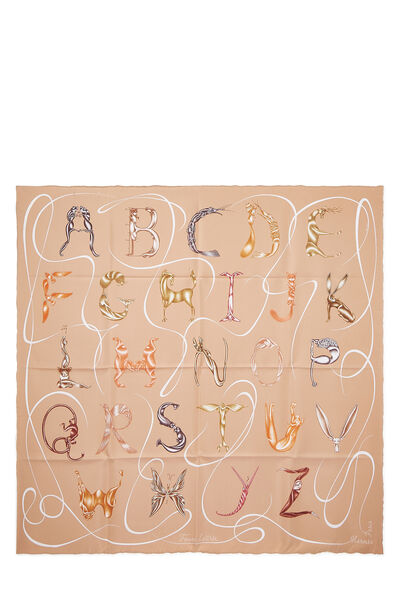 Pink & Multicolor 'Faune Lettrée' Silk Scarf 90