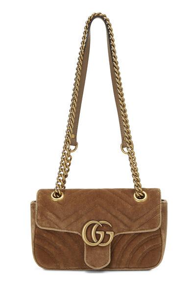 Tan Velvet GG Marmont Shoulder Bag Small