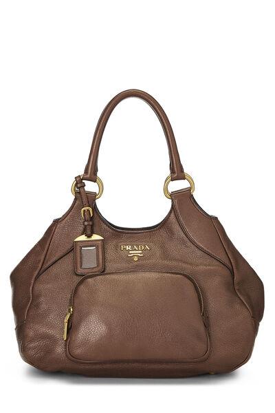 Metallic Copper Vitello Daino Handbag
