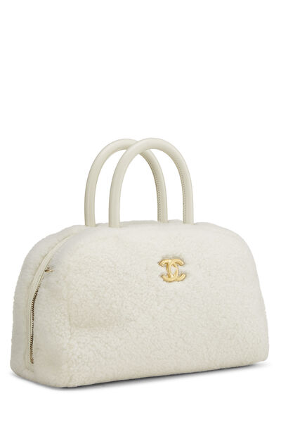 White Shearling Coco Bowling Bag, , large