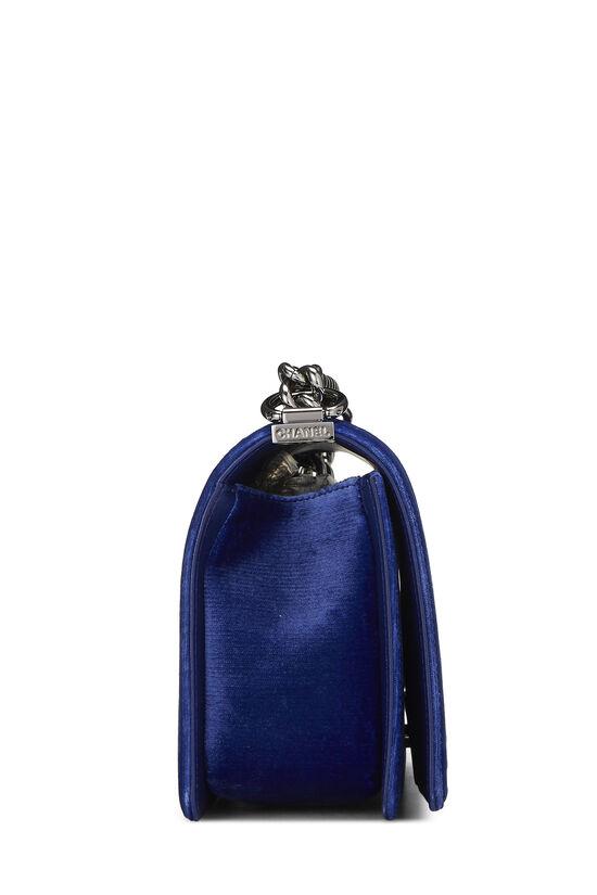 Blue Quilted Velvet Boy Bag Medium, , large image number 2
