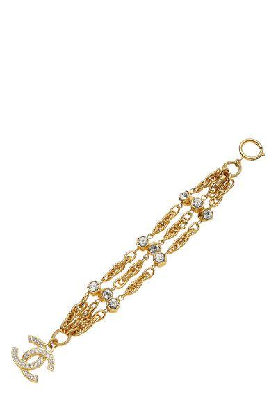 Gold & Crystal 'CC' Chain Bracelet, , large