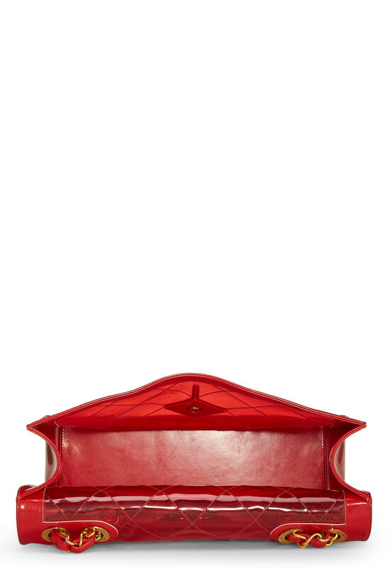 Red Quilted Vinyl Half Flap Maxi, , large image number 5