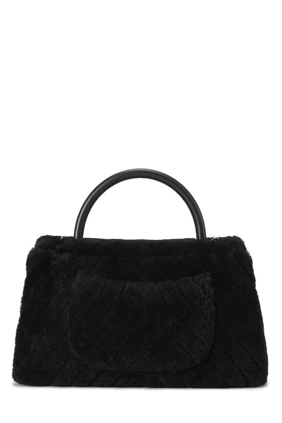 Black Chevron Shearling Coco Handle Bag, , large image number 4