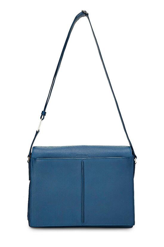 Homme Blue Leather Messenger Bag, , large image number 6
