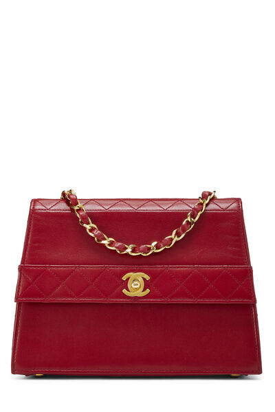 Red Quilted Lambskin Trapezoid Shoulder Bag