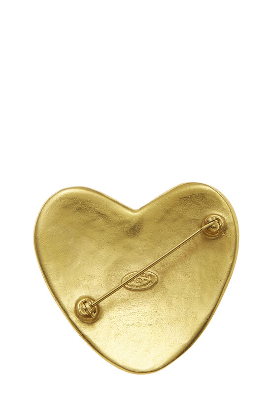 Gold 'CC' Heart Pin, , large image number 1