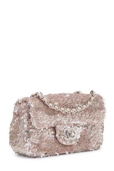 Pink Sequin Half Flap Extra Mini, , large