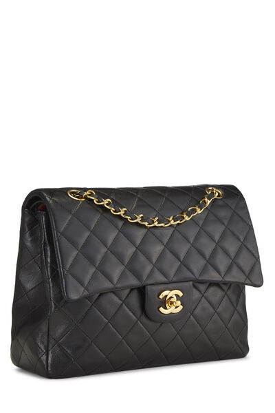 Black Quilted Lambskin Classic Double Flap Tall Medium, , large