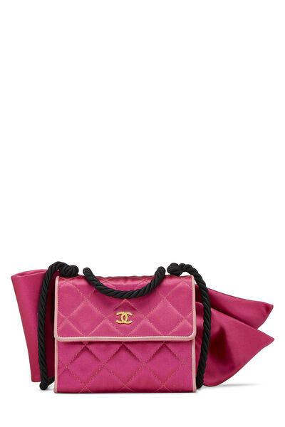 Pink Quilted Satin Bow Bag