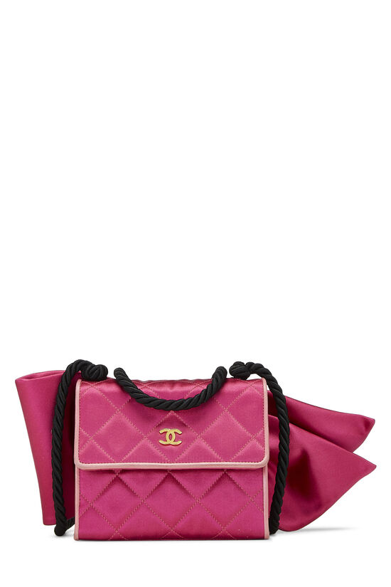 Pink Quilted Satin Bow Bag, , large image number 0
