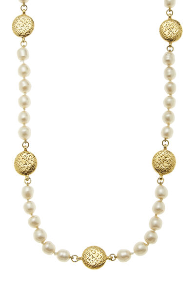 Gold Coin & Faux Pearl Necklace, , large