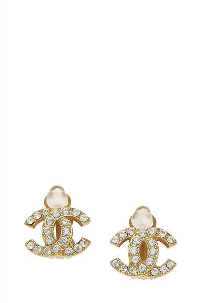 Gold & Crystal 'CC' Earrings