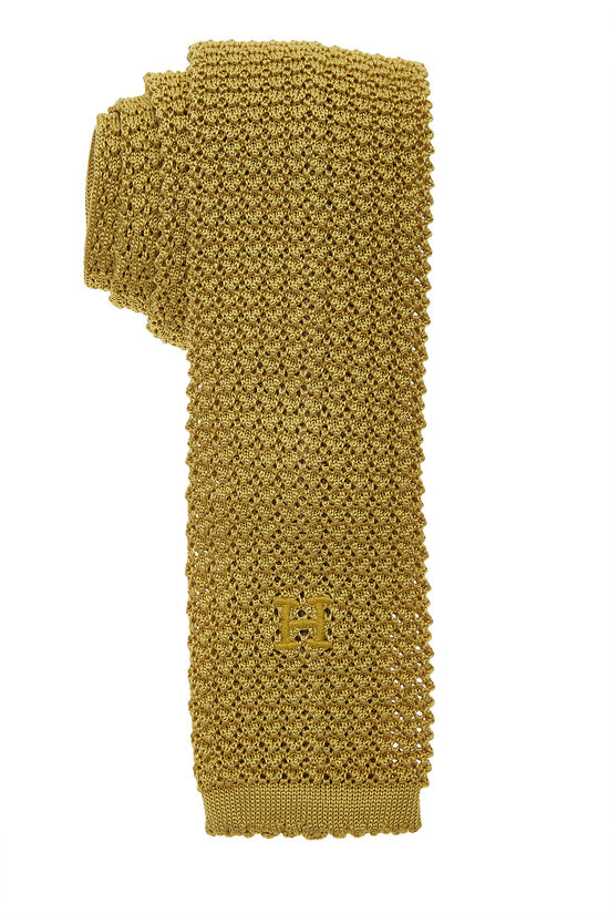 Yellow Silk Knit Tie, , large image number 0