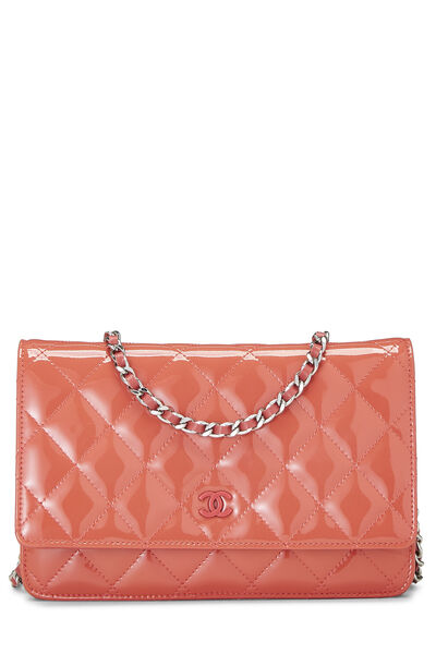 Coral Quilted Patent Leather Classic Wallet On Chain (WOC)