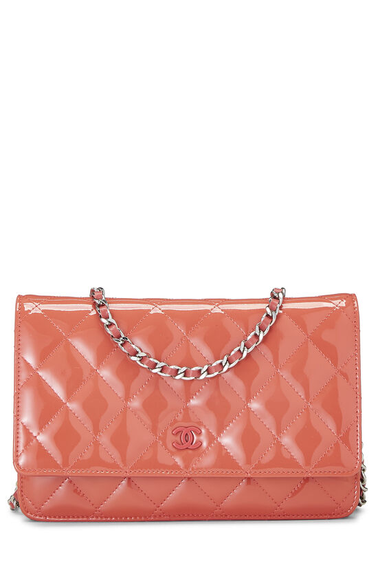 Coral Quilted Patent Leather Classic Wallet On Chain (WOC), , large image number 0