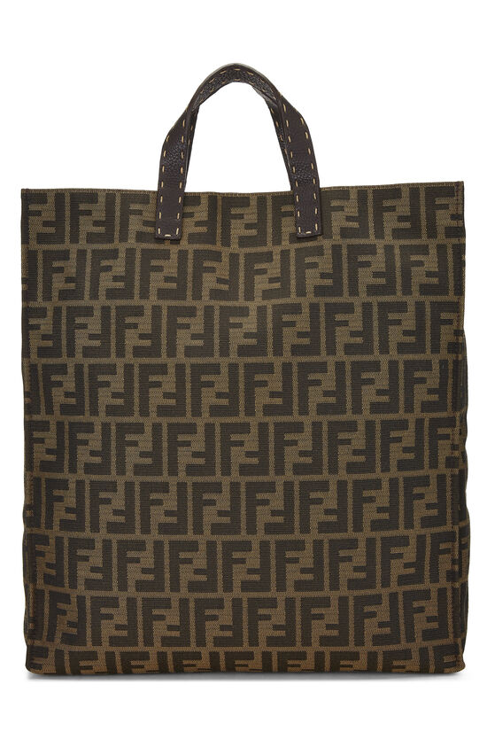 Brown Zucca Canvas Selleria Vertical Tote, , large image number 3