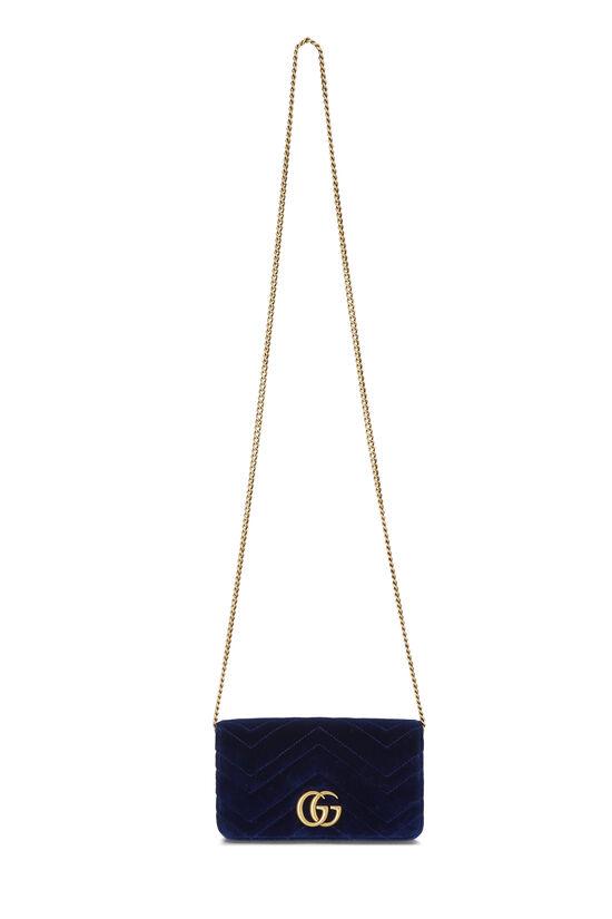 Blue Velvet GG Marmont Wallet on Chain Mini, , large image number 6