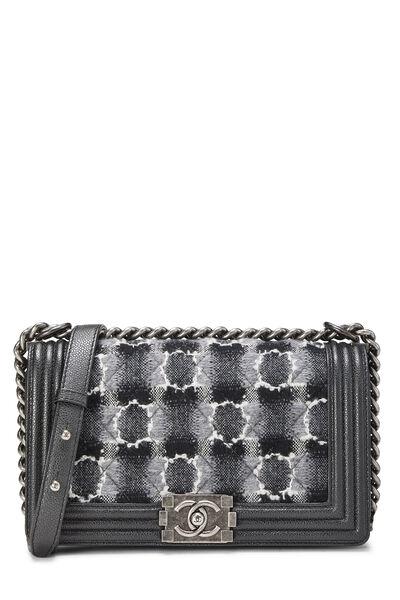 Black Leather & Tweed Boy Bag Medium