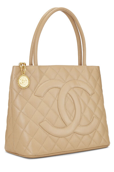 Beige Quilted Caviar Medallion Tote, , large