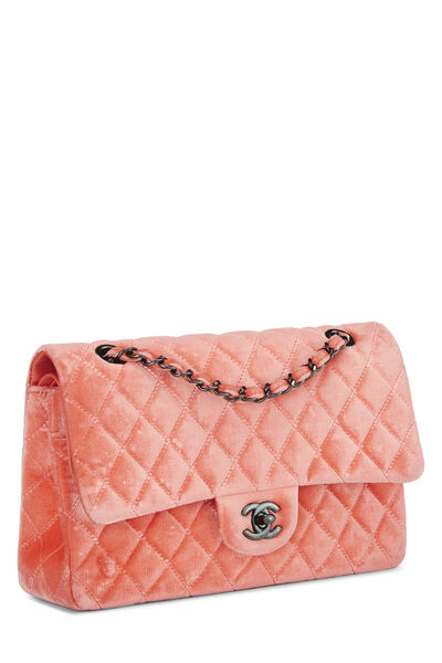 Coral Quilted Velvet Classic Double Flap Medium, , large