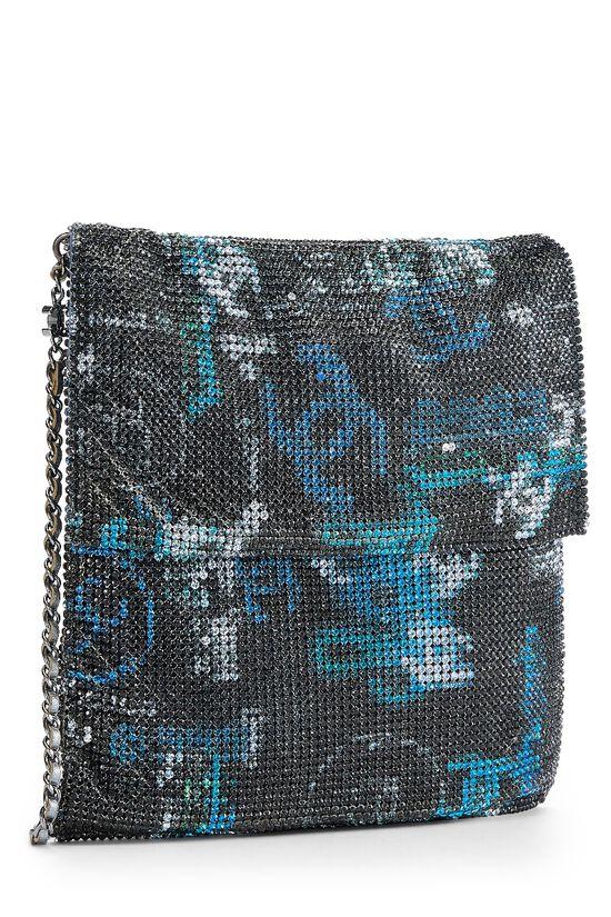 Grey & Blue Graffiti Rhinestone Chain Mail Bag, , large image number 1