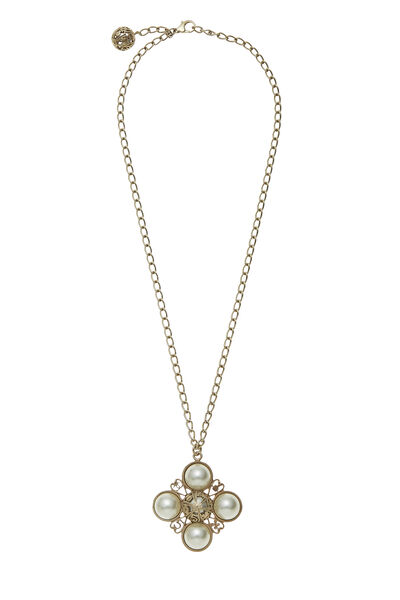 Gold & Faux Pearl Lucky Charms Necklace