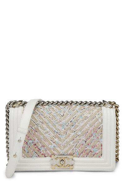 White & Multicolor Tweed Chevron Chain Boy Bag Medium
