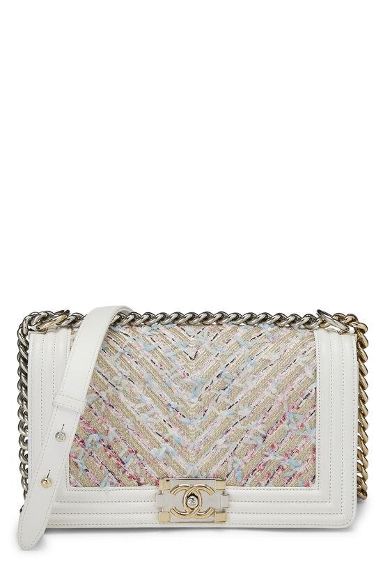 White & Multicolor Tweed Chevron Chain Boy Bag Medium, , large image number 0
