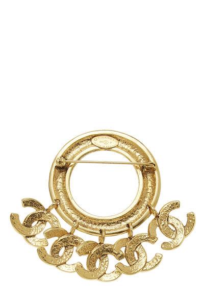 Gold 'CC' Charm Pin, , large