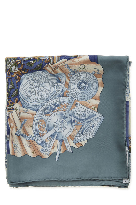Blue & Multicolor 'Azulejos' Silk Scarf 90, , large image number 1