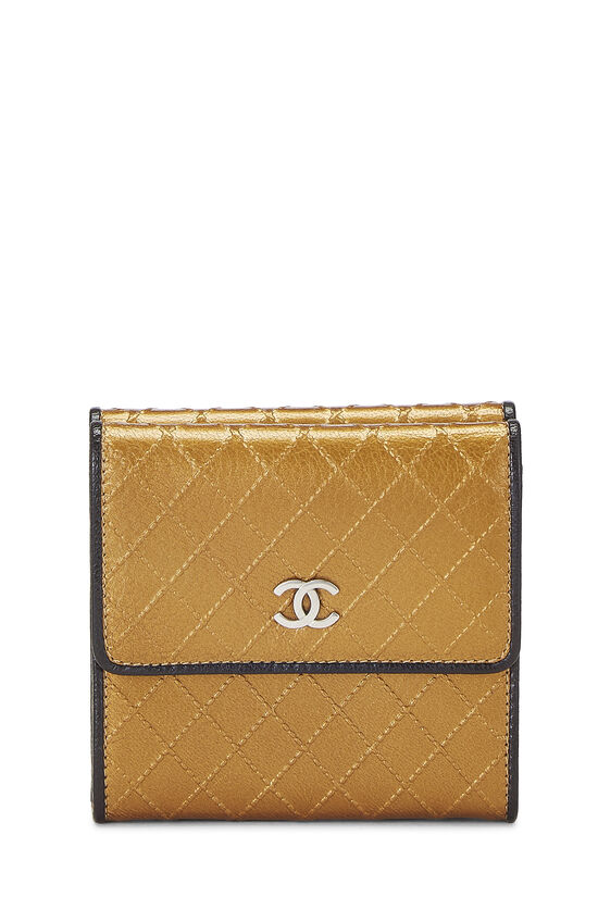 Gold Quilted Calfskin Compact Wallet, , large image number 0