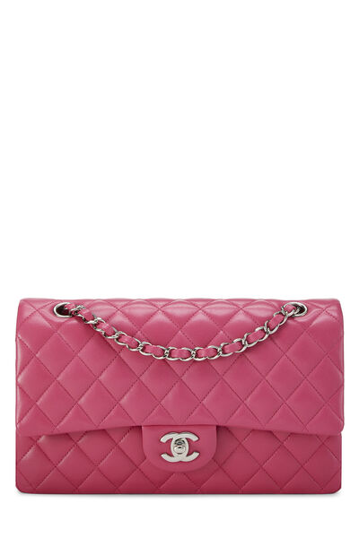 Pink Quilted Lambskin Classic Double Flap Medium