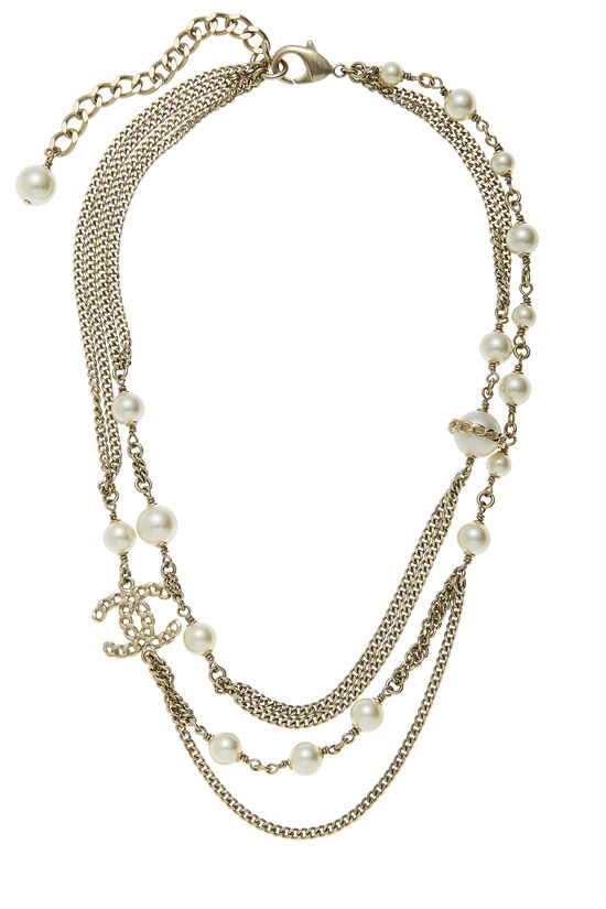 Gold & Faux Pearl Layered Necklace, , large image number 0