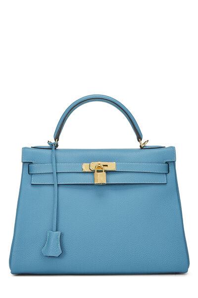 Turquoise Blue Togo Kelly Retourne 32