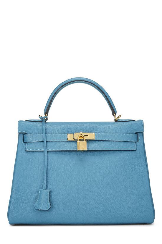 Turquoise Blue Togo Kelly Retourne 32, , large image number 0