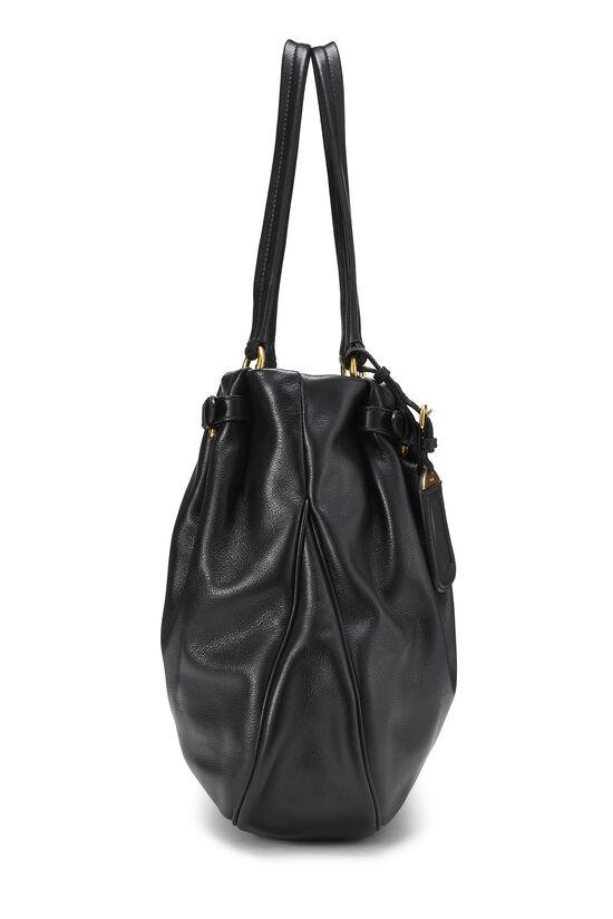 Black Leather Shoulder Bag Medium, , large image number 2