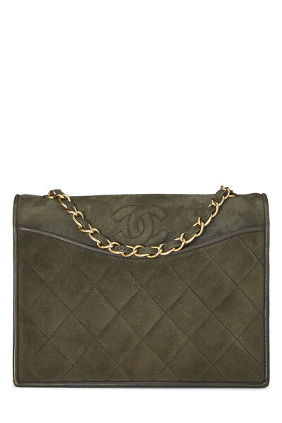 Olive Quilted Suede Full Flap Mini