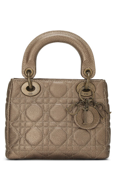 Bronze Cannage Quilted Lambskin Lady Dior Mini