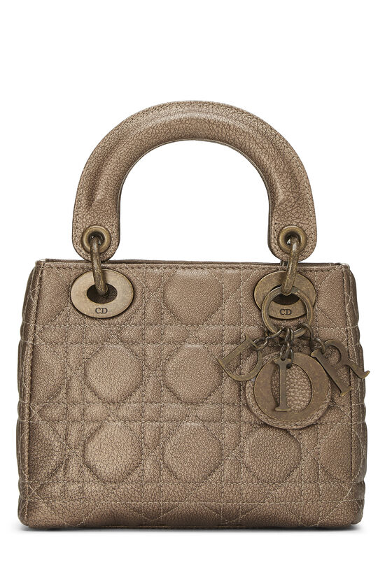 Bronze Cannage Quilted Lambskin Lady Dior Mini, , large image number 0