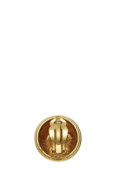 Gold 'CC' Sunburst Earrings, , large