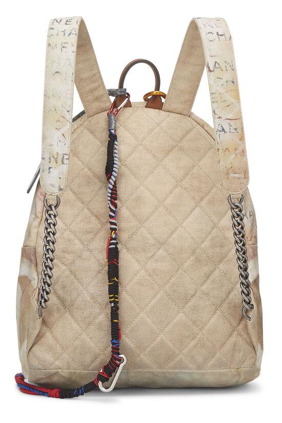 Beige Canvas Graffiti Backpack, , large image number 3