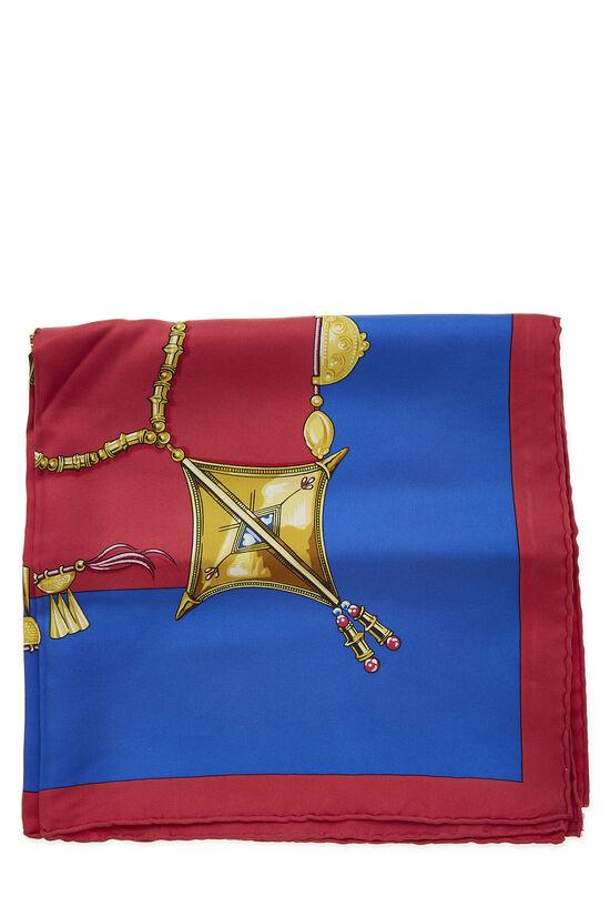 Red & Multicolor 'Parures des Sables' Silk Scarf 90, , large image number 1