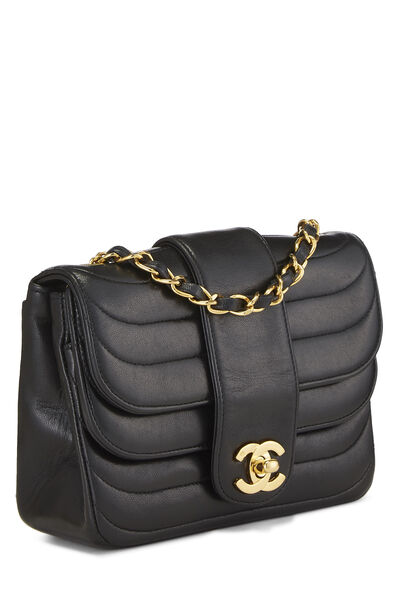 Black Quilted Lambskin Double Round Flap Mini, , large