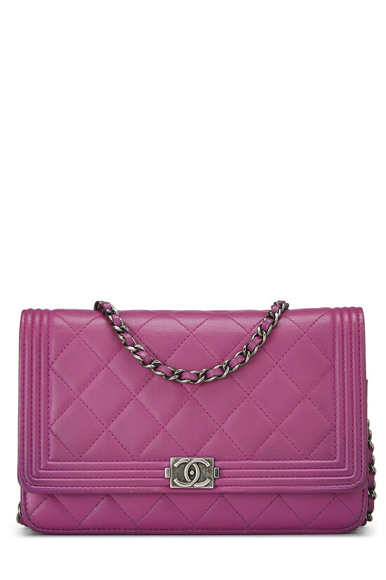 Purple Quilted Lambskin Boy Wallet on Chain (WOC), , large image number 0