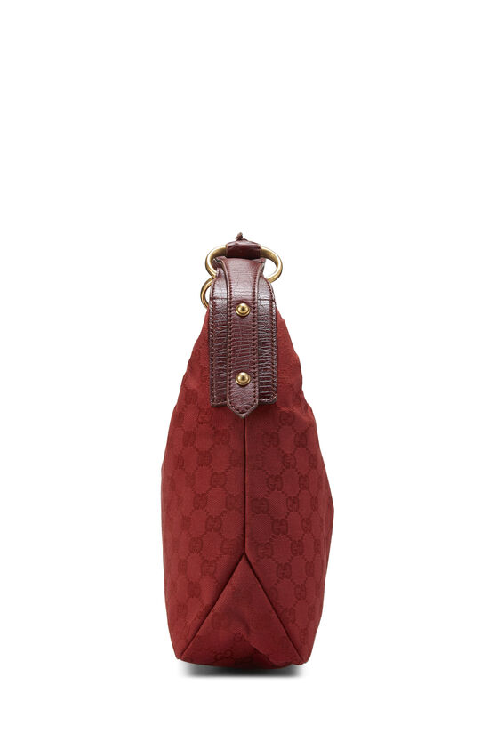 Red GG Canvas Horsebit Hobo, , large image number 2
