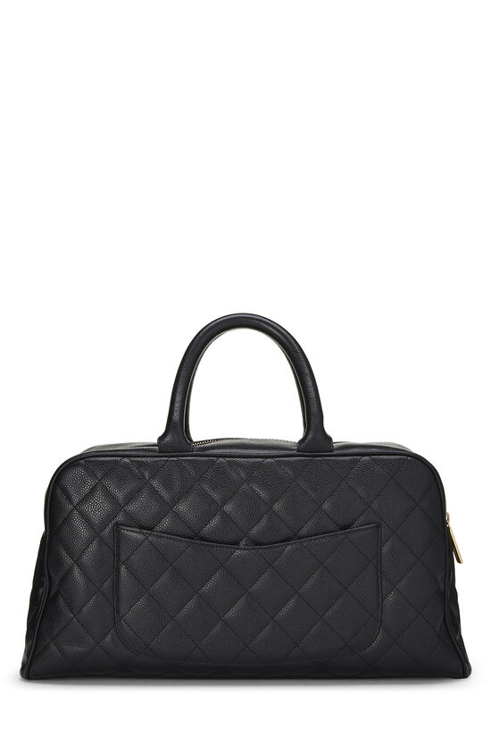 Black Quilted Caviar Bowler Small, , large image number 3