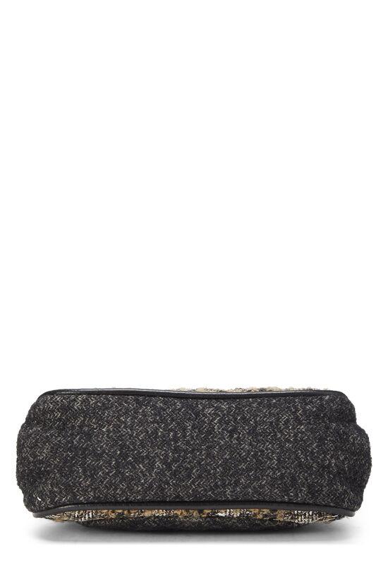 Black & Beige Tweed Shoulder Bag, , large image number 4