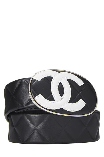 Black Quilted Calfskin Oval 'CC' Belt