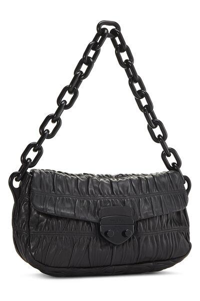 Black Nappa Gaufre Shoulder Bag, , large
